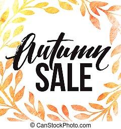 Autumn leaves wreath. Watercolor texture. Fall leaf. Sale lettering design. Vector illustration
