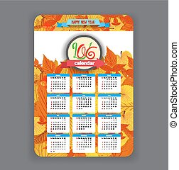 autumn leavesl Calendar 2016 year