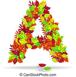 autumn letters with drops of water