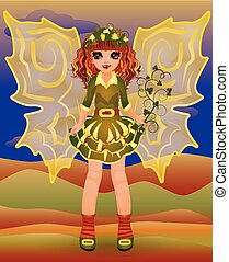 Autumn little fairy girl, vector