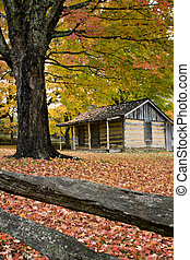 Autumn Log Cabin - Log Cabin in Virginia Mountains with Fall...