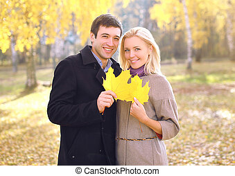 Autumn, love, relationships and people concept - portrait ...