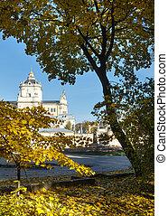 Autumn Lviv City square.