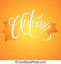 autumn., mão, desenhado, estação, quote., vetorial, ilustração