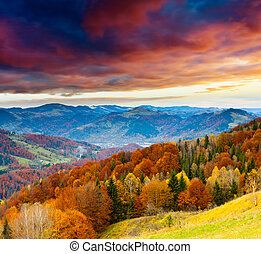 autumn - Majestic sunset in the winter mountains landscape....