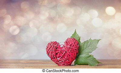 Autumn maple leaf and heart shape gift