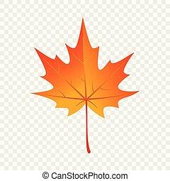 Autumn maple leaf icon, flat style