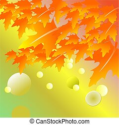 Autumn maple leaf on background. Vector illustration.