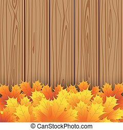 Autumn maple leaf on wooden boards background