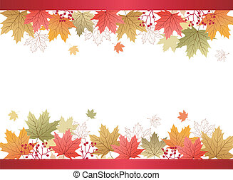 Autumn Maple leaves background with red ribbon bar.File...