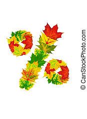 Autumn maple Leaves in the shape of percent