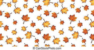 Autumn maple leaves seamless pattern background