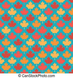 autumn maple leaves symmetrical seamless pattern on blue background