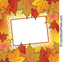 Autumn maple leaves with floral greeting card