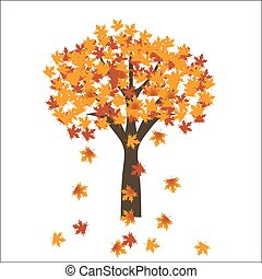Autumn maple tree leaves on bright background. EPS 10