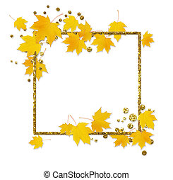 Autumn maple twig with yellow leaves and a golden glitter frame on white background. Flat lay. Top view.