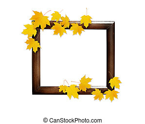 Autumn maple twig with yellow leaves on wooden frame isolated on white background. Flat lay. Top view.
