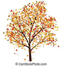 Autumn maples tree with falling leaves. Vector illustration.