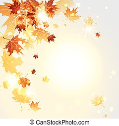 Autumn midday - Falling maple leaves. Autumn vector...