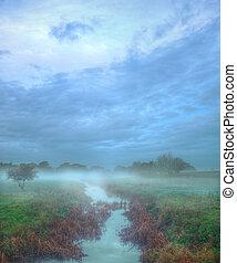 Autumn Misty Field Scene