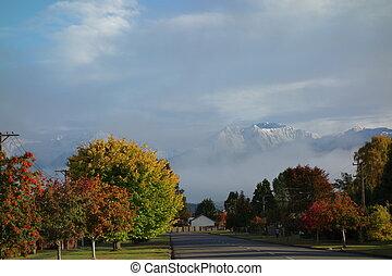 Autumn morning in Te Anau New Zealand