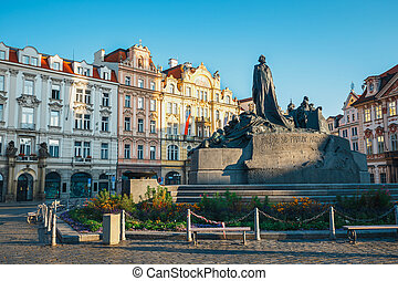 Autumn morning on the Old Town square in Prague, capital of Czech Republic