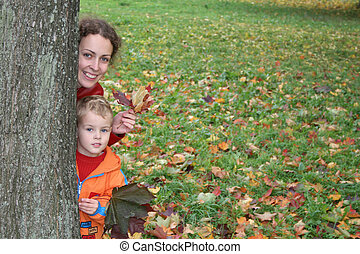 autumn mother with child