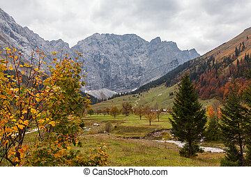 Autumn mountain landscape in the Alps, near Engalm. Austria, Tirol.