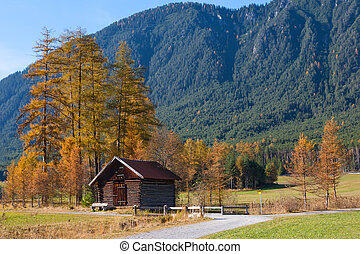 Autumn Mountain Landscape with Old Wooden Hut