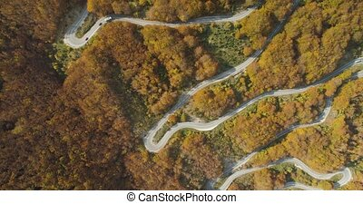 autumn mountain road view from above, Montenegro