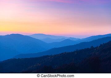 Autumn mountains at sunrise