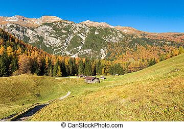 Autumn mountains landscape. Hiking in Austrian Alps, Tyrol, Stubai Alps, Austria