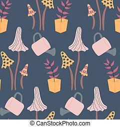 Autumn mushroom and pot flower, in a seamless pattern design