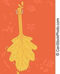 Autumn Music Festival Guitar Design Illustration