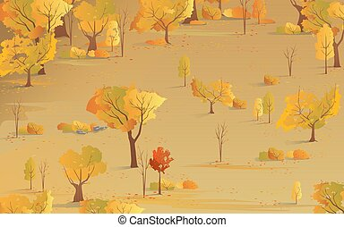 Autumn natural background. Fall season, yellow foliage
