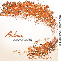 Autumn nature background with a tree and colorful leaves. Vector
