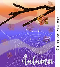 Autumn nature banner with web, vector illustration