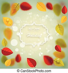 Autumn nature blurred background. Shiny Autumn Natural Leaves Background. Label for autumn sale
