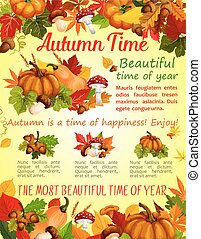 Autumn nature, fall season poster template design