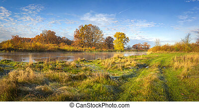 Autumn nature landscape. Amazing panorama of autumnal river shore with trees, meadow and blue sky on sunny day. Golden nature in october. Colorful leaves and grass on river bank. Scenery autumn. Fall.