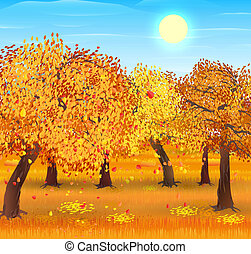 Autumn nature landscape with forest