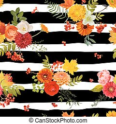 Autumn Nture Seamless Pattern. Floral Background with Maple...