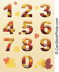 Autumn numbers - A set of numbers with autumn leaf theme