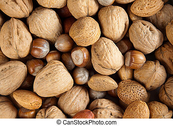 Closeup into a bowl full of autumn nuts