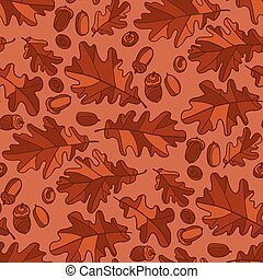 Autumn oak leaves and seeds seamless pattern. Repeatable ...