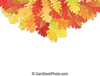 Autumn oak leaves - Autumn illustration. Border made of...