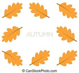 Autumn oak leaves border