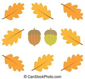 Autumn oak leaves frame and acorns. Vector illustration