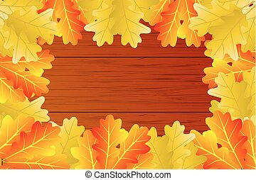 Autumnal leaf of oak - Autumn - oak leaves - vector...