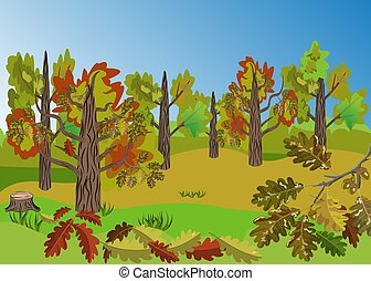 Autumn Oak Tree Grove landscape with beatiful colorful oak leaves folliage and outstanding landscape view